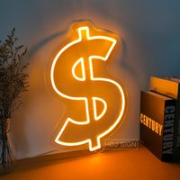 Other Lighting Bulbs & Tubes Custom Neon Sign Dollar USD Logo LED Light Wall Decor For Bar Home Store Bedroom Club Background Luminescent Si