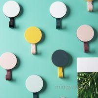 8 PCS Plastic Round Hook Self-adhesive Door Hook Coat Hat Rack Bathroom Kitchen Door Wall Mounted Hanger Creative Clock Hook MY-inf0243