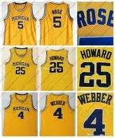 Erkekler Michigan Wolverines 5 Jalen Rose Jersey 4 Chris Webber Jersey 25 Dwight Howard Jersey Üniversitesi Dikişli Kolej Basketbol Formaları