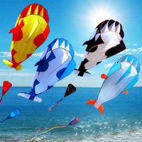 220 cm Lindo enorme diversión al aire libre deportes de soltero línea software delfín ballena kite volando de alta calidad regalo