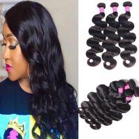 Wholesale Body Wave 3 paquetes Natural 1b Color Brasileño Virgen Human Hair Weave Full Head Indian Peruian Malassian Hair Extensions