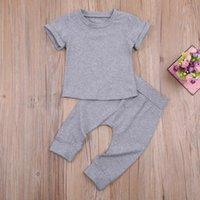 Clothing Sets Kids Baby Boys 2-piece Outfit Set Summer 2021, Casual Short Sleeve Solid Color Tops+Pants For Children
