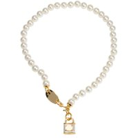 Nouvelle Arrivée Perle Chaîne Saturn Serrure Pendentif Collier Femmes Lock Planet Collier Collier Fashion Bijoux Accessoires pour une fête cadeau