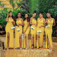 Yellow Bridesmaid Dresses With Side Split Backless Women Long Mermaid Spaghetti Strap Wedding Party Dress Maid Of Honor