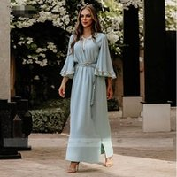 Long Sleeve Ankle-Length Muslim Evening Gowns for Women A-Line Beaded Lace Robe De Soirée Light Blue Dubai Caftan Formal Dress