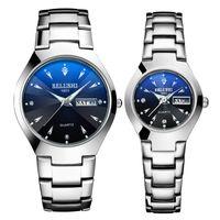 Saatı Belushi Çift Saatler Üst Marka Tungsten Çelik Kuvars İzle Erkekler Kadınlar Bilezik Çift Takvim Aydınlık Saatler