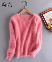 Natural Knitted Mink Cashmere Pullovers Women's Fashion Knit O-neck Sweater Custom Big Size Sweaters