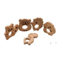 Детская деревянная Tehter Nature Chasting Baby Wood Toething Toy Toy Wood Сова Собака Ежик Форма Soather Chewing Подвеска DIY Аксессуары FWF6397