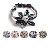 Pet Köpek Yaka Ayçiçeği Purpleflower Çiçek Kedi Yaka Düğme Aksesuarları Kediler ve Küçük Köpekler için Ayarlanabilir Çan Ile Güvenlik Tokası HH21-335