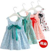 Wholesale Baby Girl Dress Retro Pattern Cotton Blend Knit Girl's Blouse Cotton Backless Sleeveless Princess Party Dress 3096 Q2