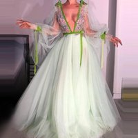 Party Dresses Mint Tulle & Lace V Neck Dress See-Through Long Sleeve A-line Evening Sexy Floral Chic