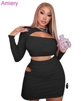 Fashion Sexy Hollow Out Tight Short Two Piece Skirt Set Long Sleeve T-shirt Suit 2021 Autumn Clothes For Women