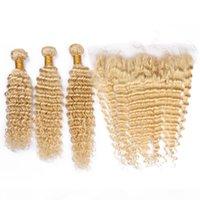 # 613 Блондинка бразильская девственница человеческих волос уцингирует 3 пакета с полной фронтальной глубокой волной блондинки 13x4 кружева лобное закрытие с плетенами