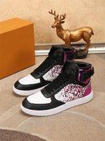 Lüks Tasarımcı Rivoli Rahat Ayakkabılar Eğitmenler Yüksek Üst Sneaker Lüksemburg Lace Up Vintage Ayakkabı Chaussures Dalfskin Dövme Trainer Kutusu Ile