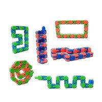 Niños Wacky Tracks Snap y haga clic en Fidget Toys DIY Kids Autism Snake Puzzles Sensory Educational DecomPression Toy 2413 Q2