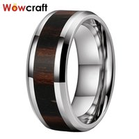 Wedding Rings 100% Tungsten Carbide Ring For Men Engagement Band Women Beveled Edges With Ebony Wood Inlay
