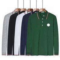 مصمم رجالي Monclair بأكمام طويلة قميص بولو الأزياء التطريز رسائل الأعمال الكلاسيكية قمصان سكيتات عارضة الأعلى الرجال القمصان