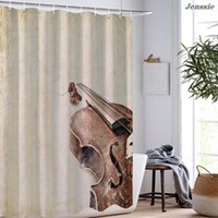 Shower Curtains 3D Guitar Printed Bath Curtain Waterproof Polyester Fabric Bathroom Accessories Sets