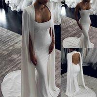 2020 Elegant simple Mermaid Wedding Dresses With Wrap Backless Sweep Train Simple Satin Bridal Gowns vestidos de novia Custom Cheap
