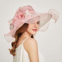 Chapeaux Casquettes Nouvelle mode Femme Organza Multi Couleur En option Chapeau Cornasse brodé personnalisé