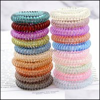 Rubber Bands Jewelry Jewelrycandy Color Telephone Wire Cord Hair Tie Girls Kids Elastic Hairband Ring Women Rope Bracelet Stretchy Drop Deli