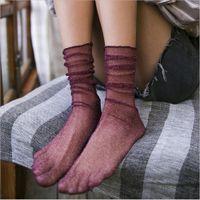 Socks New Retro Mesh Socks Women's Spring and Summer Thin Pile Socks Gold and Silver Wood Ears Mesh Tulle