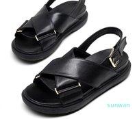 PP-мода Продажа летних Летние рыбные насадки сандалии римские кожаные крест конопляный веревка плоская обувь для женщин толстые подошвы веб-знаменитость идут с каждым