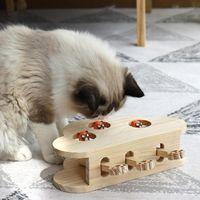 Gato burlas juguete sólido rompecabezas de madera interactivo nube forma hámster muñeca gatito divertido cajón suministros juguetes