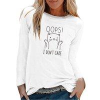 К сожалению, мне все равно, кошка печатает с длинным рукавом топ женщины осень зима женщина футболки мода графический тройник случайные белые экипаж шеи рубашка женские T-Shi