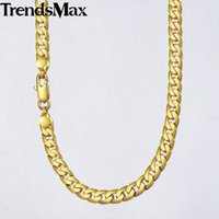 Trendsmax Men's Necklace Gold Cuban Link Chain For Men Women Wholesale Drop Male Jewelry Gifts 4 8 10mm KGNM48 Chains