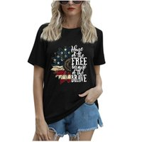 Women's T-Shirt Star Print American Flag 4th Of-July For Casual Short Sleeve Party T Shirt Independence Day Top Camiseta Mujer