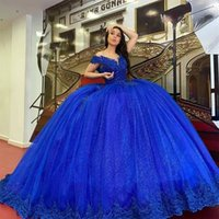 Royal Blue Quinceanera Dresses 2022 with Lace Applique Off the Shoulder V Neck Corset Back Beaded Sleeveless Prom Sweet 16 Evening Ball Gown vestidos