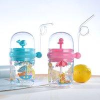 Garrafa de água copo infantil crianças aprendem alimentação suco de palha bebendo garrafa de leite pequena baleia pulveriza água para bebê para jogar vt1374