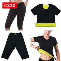 CXZD Womens Sweat Shaper T Shirt + Pant - Hot Thermo Slimming Shapewear Sauna Suit waist trainer Neoprene tummy shaper corset Q0528
