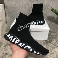 2021 Top Quality Paris Mens Womens Sapatos Casuais Treinadores de Velocidade Treinadores de Malha Branco Branco Cáqui Preto Comk de Khaki com caixa Tamanho 36-46