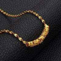 Anniyo 24k Color de oro Collares colgantes para mujeres Joyas de boda al por mayor Cadena Africana Árabe Ornamentos del Medio Oriente # 009009