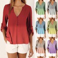 Women's T-Shirt Shirt Spring Summer Women V-neck Button Gradient Printing Long-sleeved Chiffon Plus Size Tops