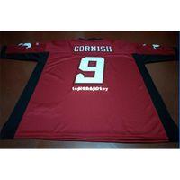 Barato Homens baratos Calgary Stampereder Jon Cornish # 9 Jersey da faculdade vermelha ou personalizado algum nome ou jersey do número