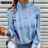 Ingoo Sonbahar Balıkçı Yaka Ofis Kadın Gömlek Fener Uzun Kollu Dantelli Pileli Bluzlar Düğme Zarif Mavi Beyaz Gömlek Kadın K064 #