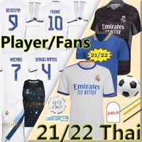 21/22 Real Madrid لاعب نسخة لكرة القدم جيرسي Alaba Hazard Benzema Sergio Ramos 2021 2022 4th Jerseys Kroos Madric Isco Men Kids Kits Socks مجموعة كاملة قميص كرة القدم
