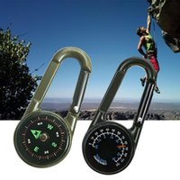 Gadget all'aperto Portachiavi Portachiavi multifunzione Camping Escursionismo Metaio Moscabiner Sopravvivenza Strumenti sportivi 1pc Termometro Compass Mini V9n9