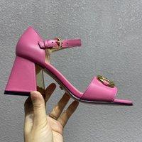 Sandalet Yüksek Topuklu kadın Kırmızı Deri 2021 Yaz Moda Lüks Tasarımcı Yuvarlak Kafa Kalın Topuk Gelinlik Seksi 7.5 cm Büyük Boy ayakkabı