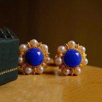 Dangle & Chandelier Designer Original Ancient Gold Craftsmanship Inlaid Pearl Sun Flower Lapis Lazuli Earrings Ladies Silver Jewelry