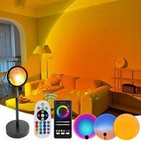 Rgb Sunset Lamp 16 Colors Remote App Bluetooth Aluminum Lens Sunset Projection Lamp Rainbow Atmosphere Led Bulbs 5W Night Lights