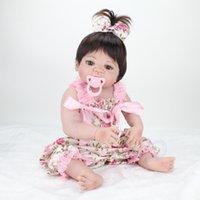 22 Zoll Handmade Realistische Reborn Baby Puppen Ganzkörper Vinyl Silikon Kleinkind Mädchen Puppe Neugeborenen Babys Wasserdichte Bad Geschenke