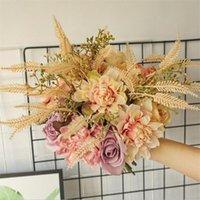 35cm Artificial Rose Flower Bouquets Wedding Decoration Bridal Holdding Bouquet Scrapbooking Craft Fake Flowers DIY Supplies Decorative & Wr