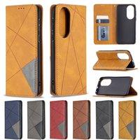 Ретро кожаный кошелек для бумажников для Samsung Galaxy S21 FE Lite A02 M02 A32 4G 5G A52 A72 A02S A12 Huawei P50 Pro Геометрический сосет магнитный гибридный удар закрытие Flip Cover Men Coch