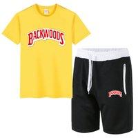 Screstsuits Летние Backwoods с коротким рукавом Мужская спортивное спортивное пальто Фитнес брюки 5-точечные шорты + футболка набор
