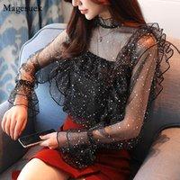 Autumn Chiffon Long Sleeve Shirt Women Blouses 2021 Fashion Sequin Ruffled Tops Shirts Lace Sexy Ladies Vrouwen 0784 30 Women's &