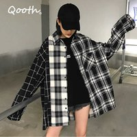 Qooth Women's Loose Plaid Blouse Spring Long Sleeve Student Check Blouses Casual Vintage Lady Tops Shirt Black QH2220